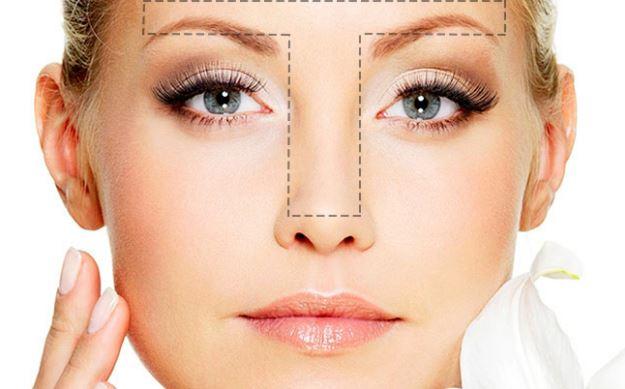 maquillaje en zona T de la cara
