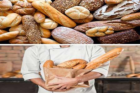 distintos tipos de pan y un hombre sujetando varios de ellos