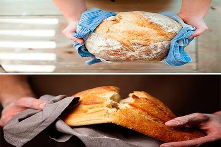 dos panes recien horneados enseñando sus propiedades