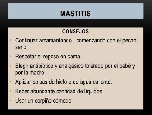 consejos sobre la mastitis
