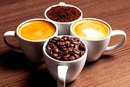 cuatro tazas de cafe en diferentes estados