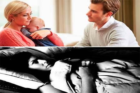 marido apoyando a su mujer con depresion que abraza al bebe