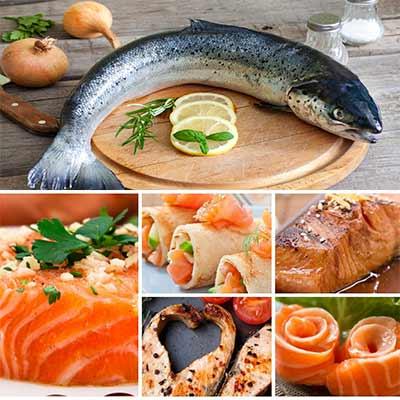 salmon en diferentes preparados y arriba un salmon entero