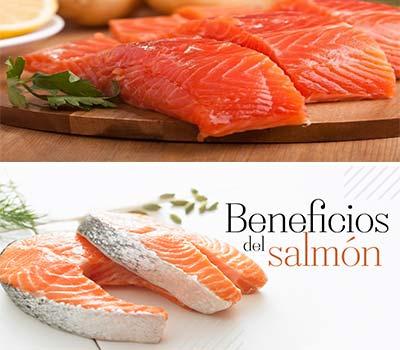 varias rodajas de salmon y el texto de beneficios del salmon