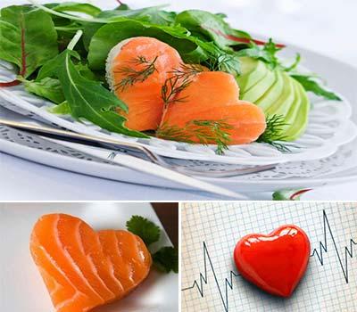 varias trozos de salmon con forma de corazon