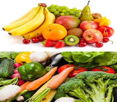 varias piezas de fruta y de verdura