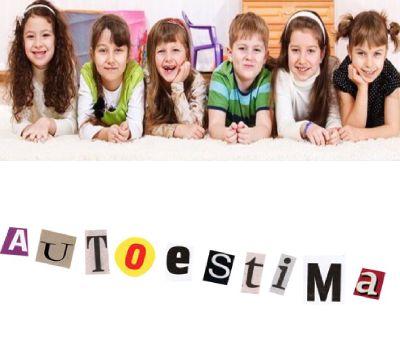 niños sonriendo y debajo la palabra autoestima