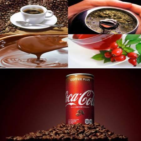 diversos productos que contienen cafeina